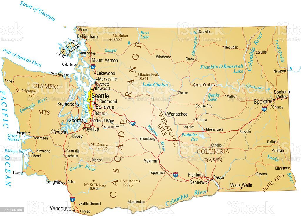 A Paper Map Of Washington State Stock Vector Art   More Images of     A Paper Map Of Washington State Stock Vector Art   More Images of City  472289189   iStock