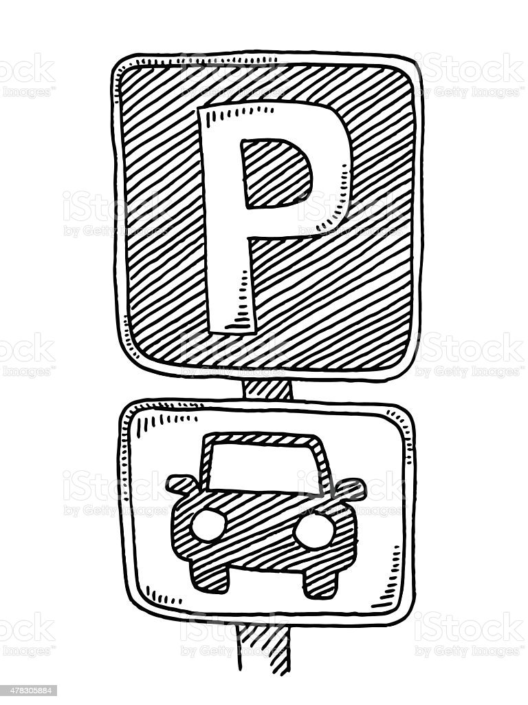 Parking Sign For Cars Drawing Stock Vector Art Amp More
