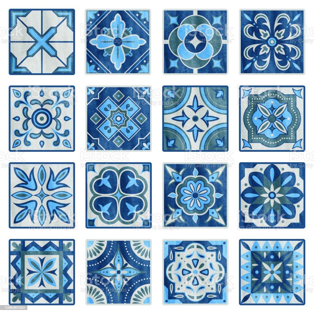 patchworkfliesen in blau grau und grun vintage keramikfliesen vektorillustration boden textur designset traditionelle fliesen mosaik textur dekoration fliesenmuster stock vektor art und mehr bilder von abstrakt istock