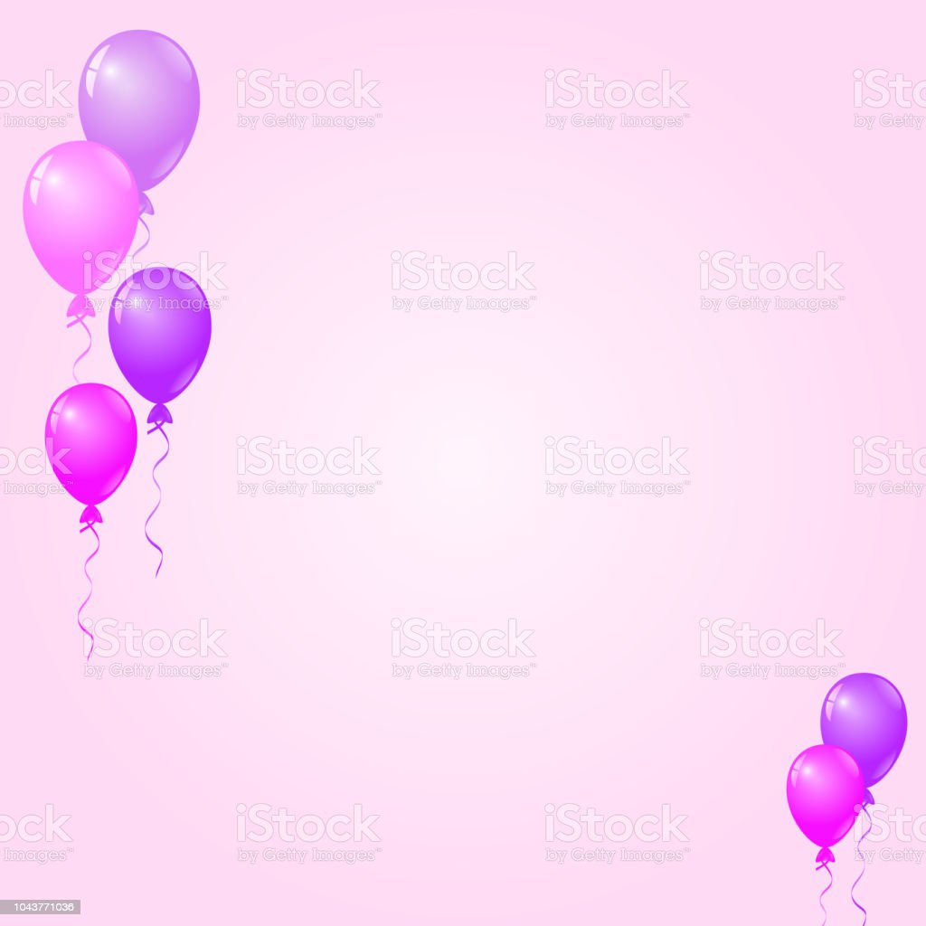pink purple balloons on pink background birthday card party invitation card stock illustration download image now istock