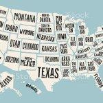 Ilustracion De Poster Map United States Of America With State Names Y Mas Vectores Libres De Derechos De Arizona Istock