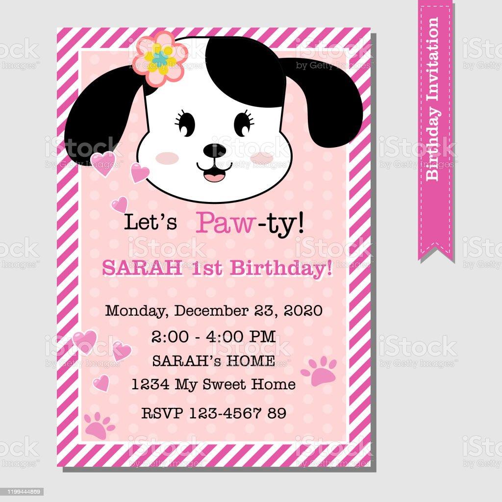 puppy dog birthday invitation stock illustration download image now istock