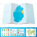 Qatar Map With Location Pins Isolated On White Background Stock Illustration Download Image Now Istock