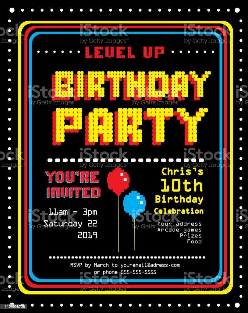 retro arcade birthday party invitation design template stock illustration download image now istock