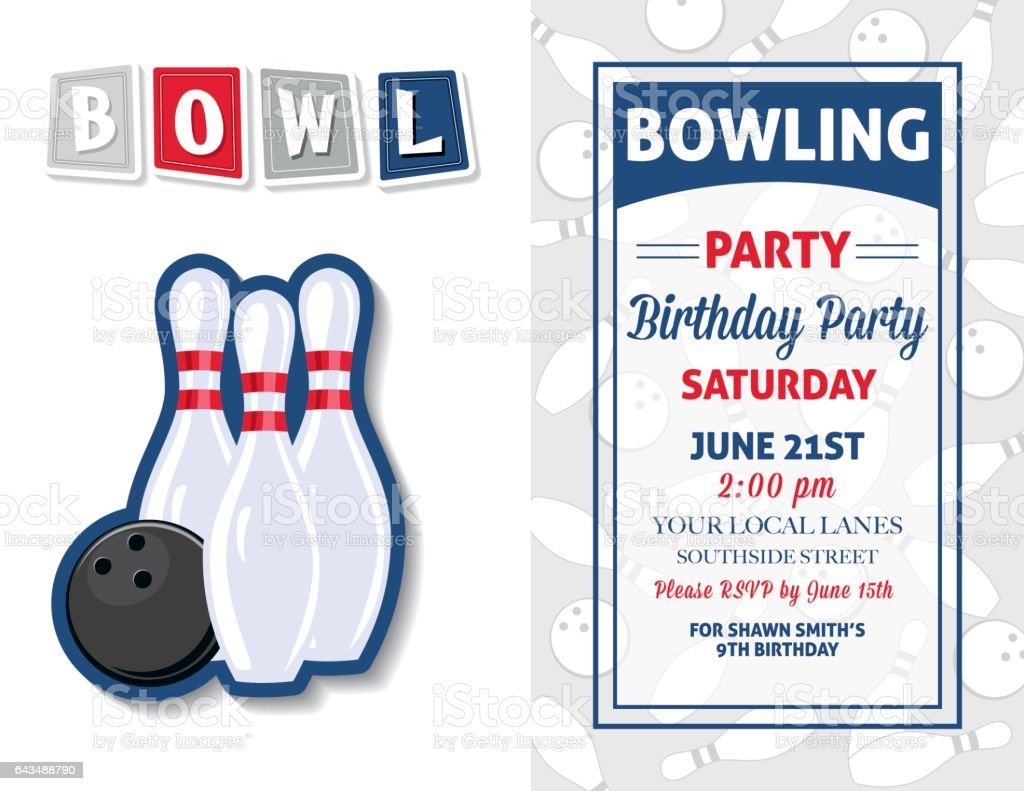 https vector me search bowling birthday party invitation