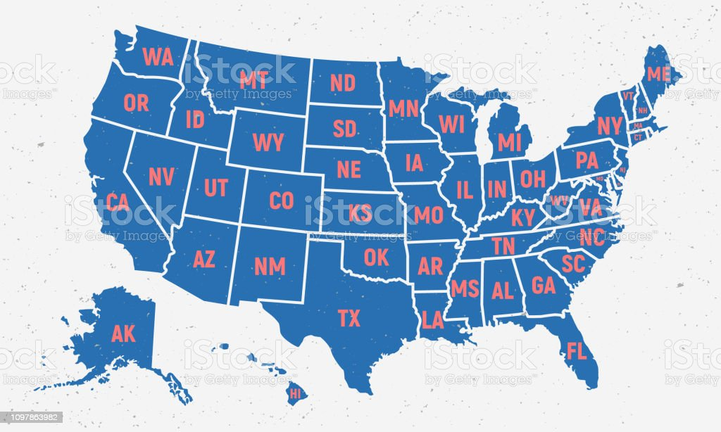 retro usa map poster in trendy colors and grunge texture united states of america map with short state names vintage usa map vector illustration stock illustration download image now istock