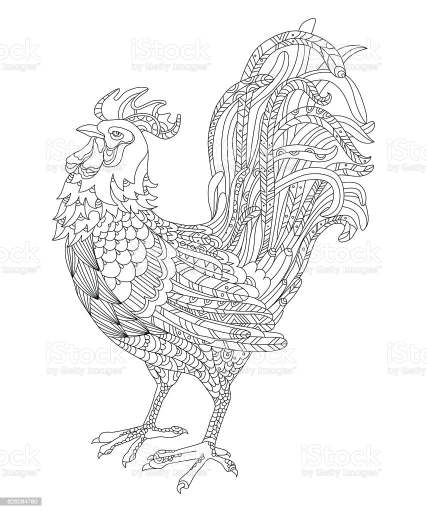 Rooster Symbol Of The Year 2017 Adult Antistress Coloring