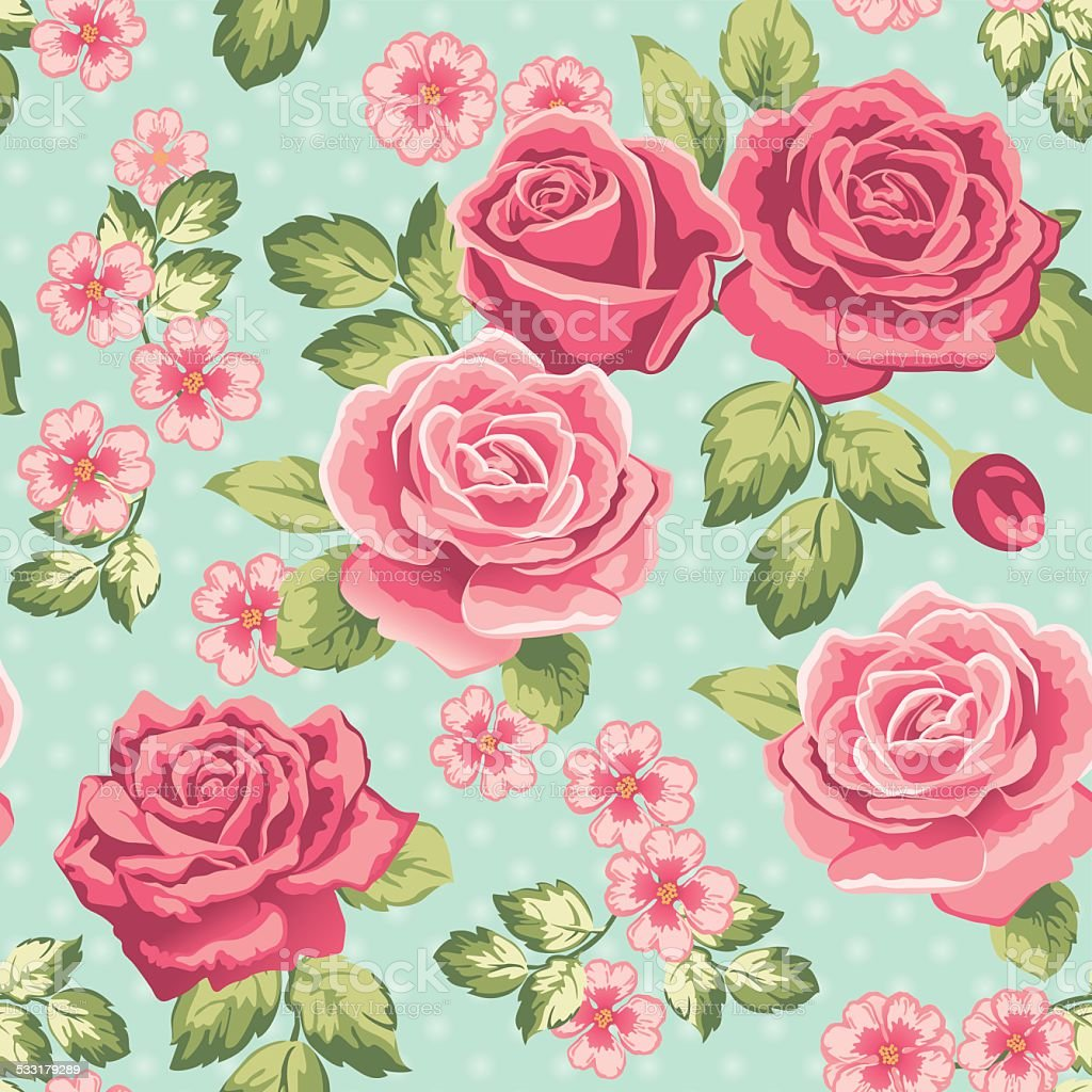 Rose Wallpaper On A Blue Background Stock Illustration Download Image Now Istock