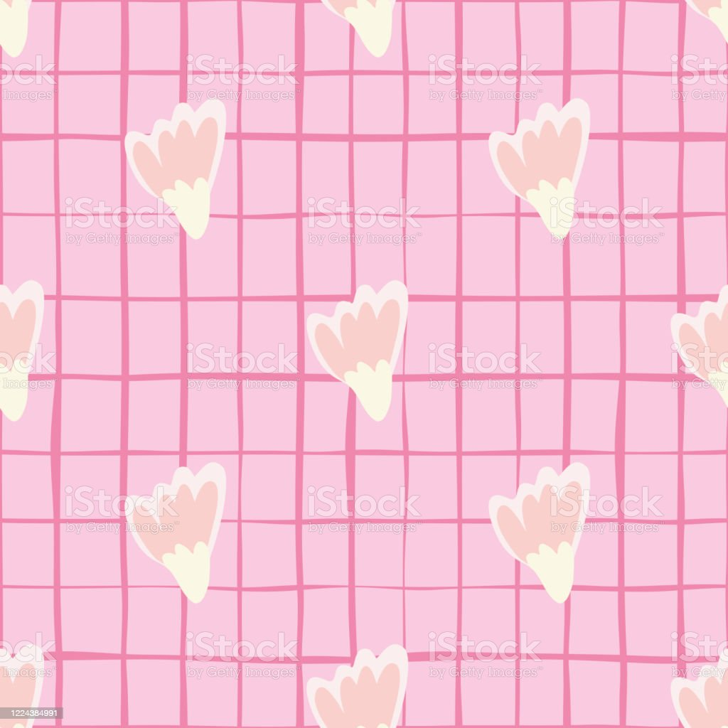 Seamless Pattern With Simple Pink Geometric Flowers Abstract Floral Wallpaper Stock Illustration Download Image Now Istock