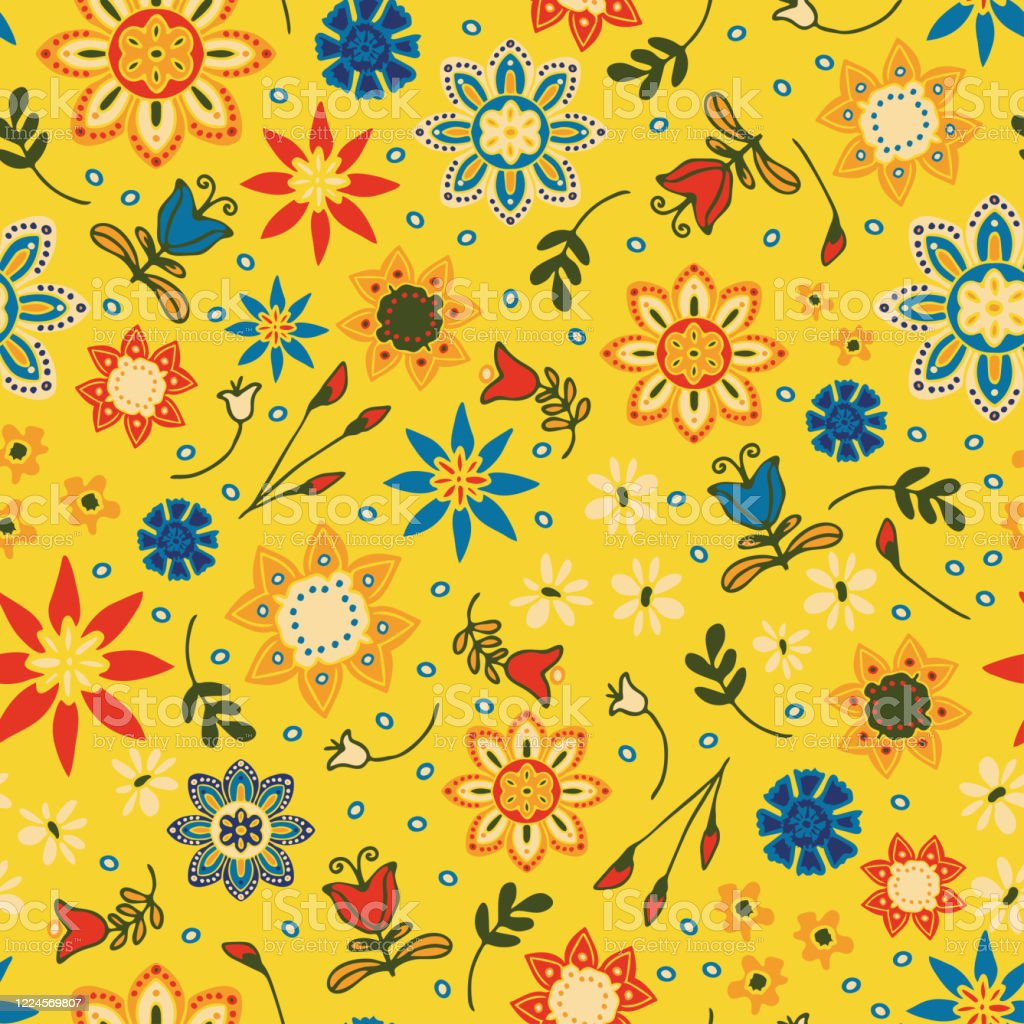 Seamless Vector Pattern With Colourful Summer Flowers On Yellow Background Bright Floral Wallpaper Design Hippy Festival Fashion Textile Stock Illustration Download Image Now Istock