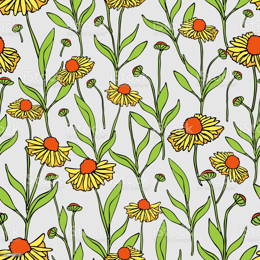 Seamless Vector Pattern With Yellow Flowers Vintage Floral Summer Wallpaper Design Stock Illustration Download Image Now Istock