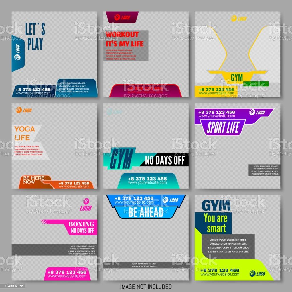 Set Editable Social Media Frame Ad Templates Stock