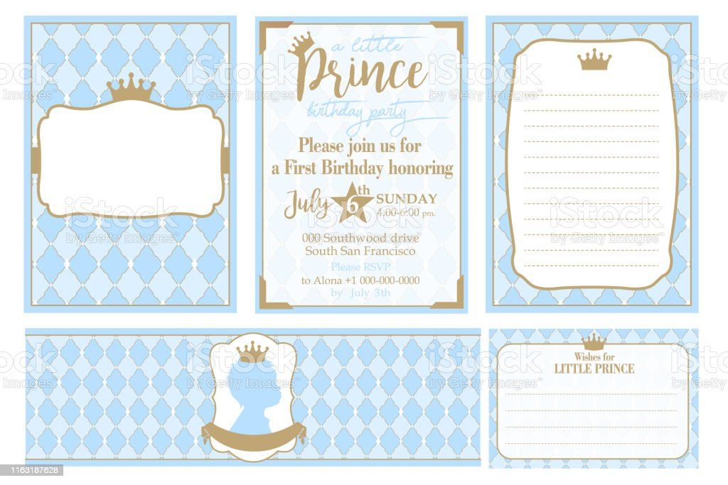 a set of cute blue templates for invitations water bottles wishes card stock illustration download image now istock