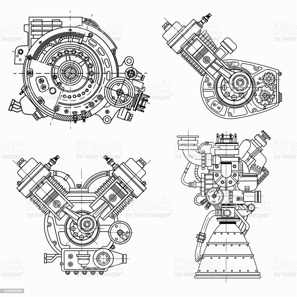 Set of drawings of engines motor vehicle internal bustion engine
