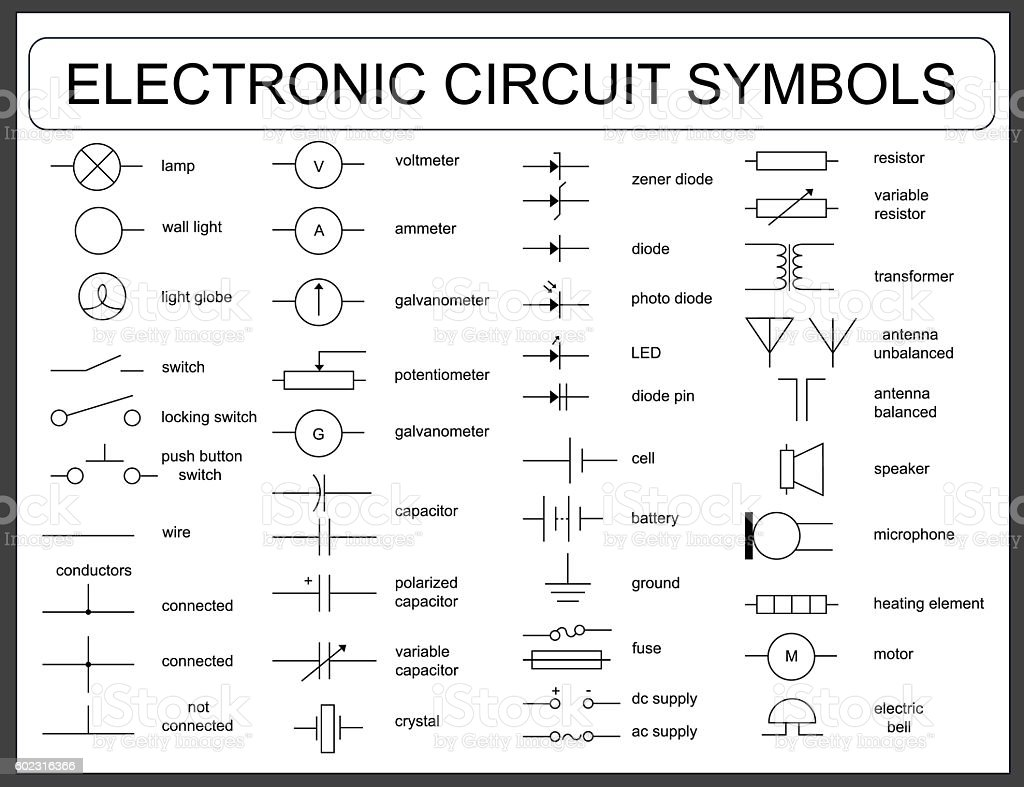 Set Of Electronic Circuit Symbols Stock Vector Art & More Images of Antenna  Aerial 602316366