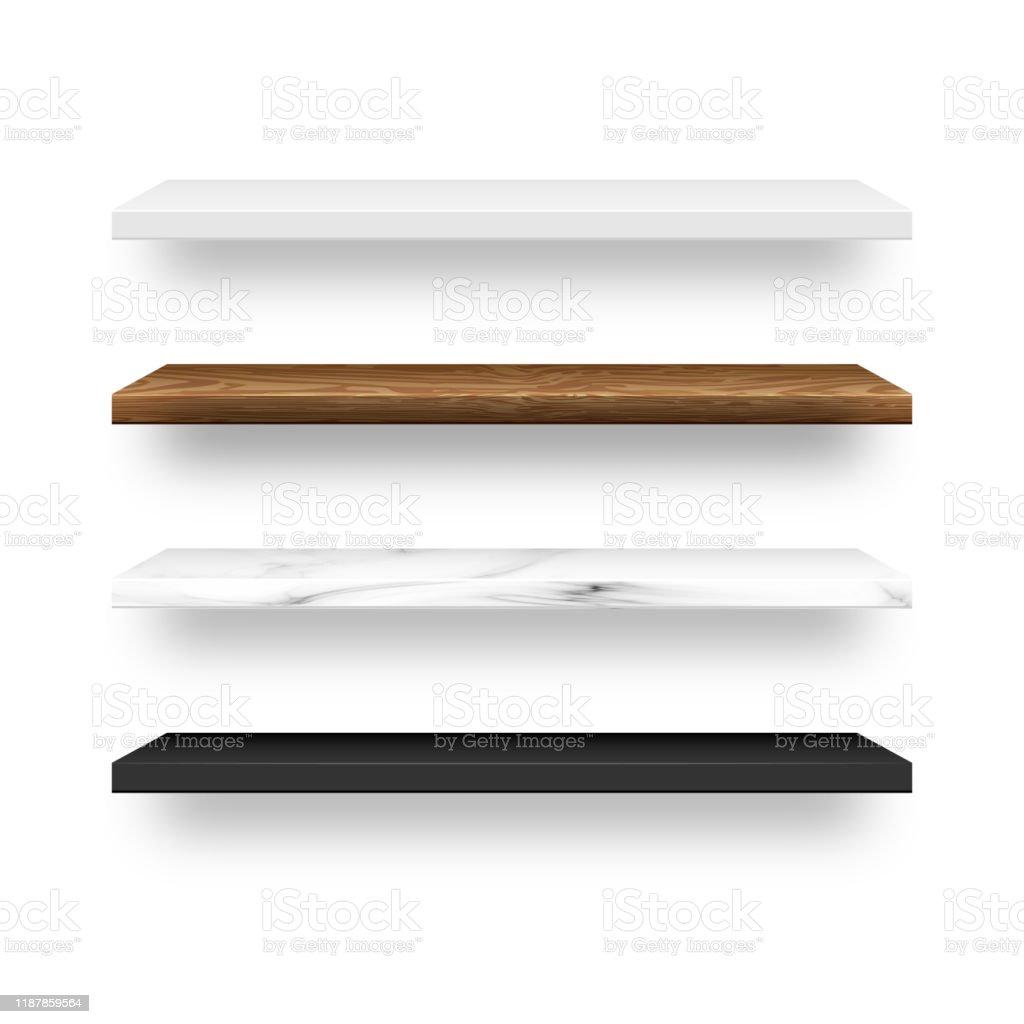 https www istockphoto com fr vectoriel ensemble de bois vide marbre blanc c3 a9tag c3 a8res en plastique noir gm1187859564 335733920