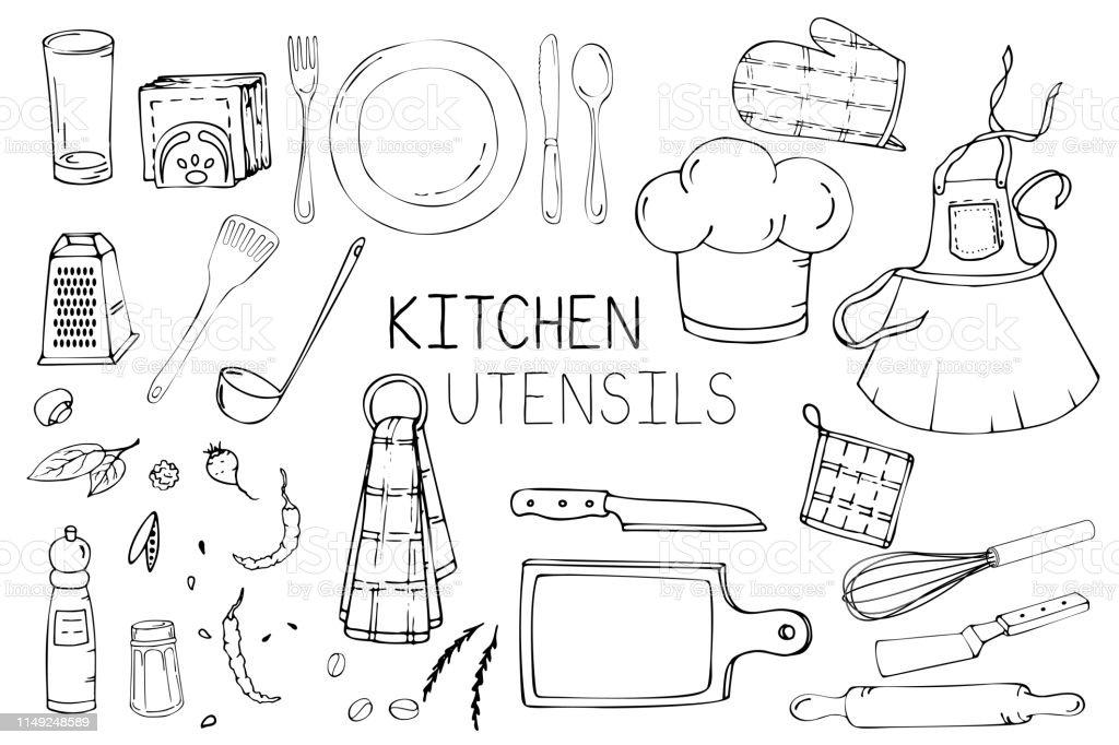 ensemble dillustration dessinee a la main avec des ustensiles de cuisine dessin vectoriel reel des outils de cuisiniere plat fourchette cuillere couteau rouleau a patisserie tablier bouchon de cuisinier spatule louche et