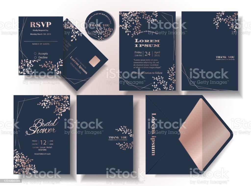 ensemble de rose feuille dor modele carte dinvitation de mariage de fond de tonalite bleu fonce rsvp carte enveloppe convient pour le couple de mariage illustrationvecteur vecteurs libres de droits et plus