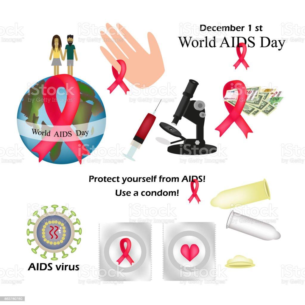 集世界愛滋病日保護自己免受愛滋病使用安全套hiv 病毒愛滋病毒的測試資訊圖表紅絲帶向量圖形及更多一組 ...