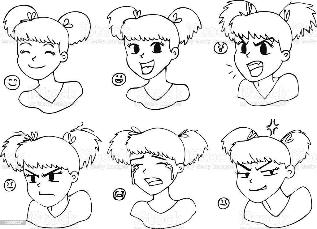 https www istockphoto com fr vectoriel six diff c3 a9rentes expressions noir et blanc manga fille gm506596237 45096744