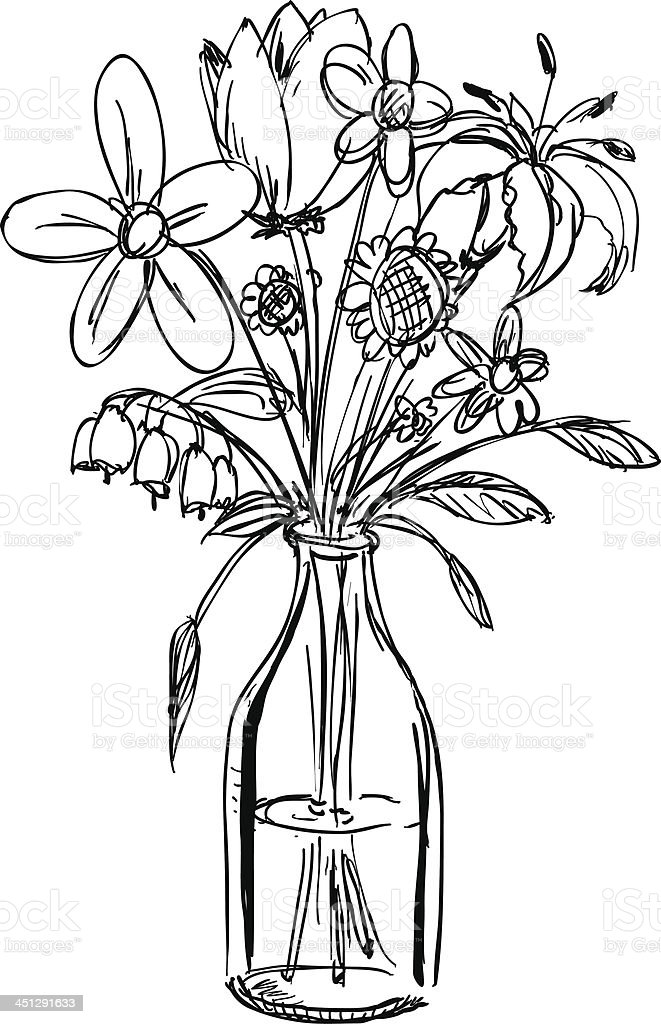 Sketch Of A Bouquet Of Flowers In A Waterfilled Vase Stock