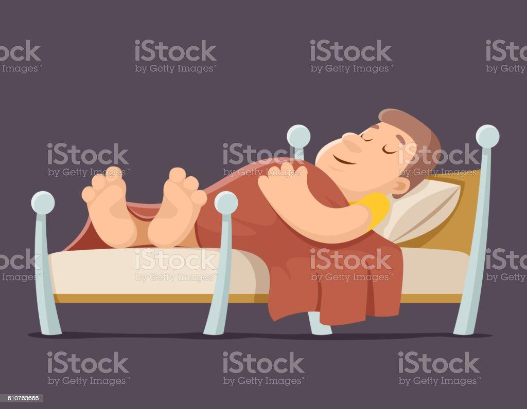 https www istockphoto com de vektor sleep man bed rest night blanket pillow cartoon design vector gm610763666 104924287