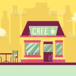 Small Cafe Building Facade With Outdoor Seating On Cityscape Background Stock Illustration Download Image Now Istock