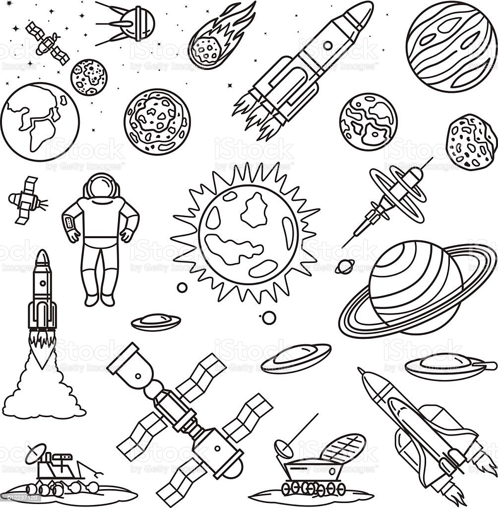 Space Doodle Linear Icons Stock Vector Art Amp More Images