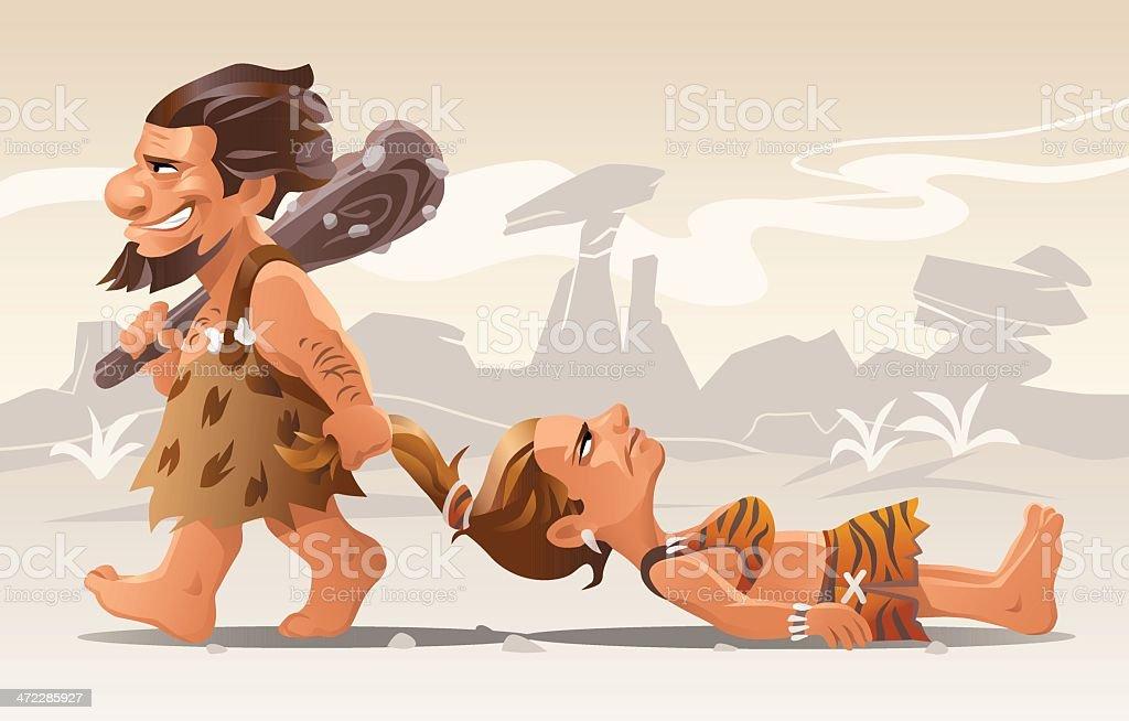 Cartoon Caveman Dragging Woman Hair