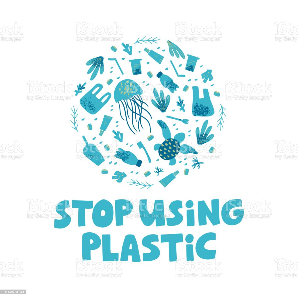 stop using plastic lettering waste contamination and water pollution poster stock illustration download image now istock