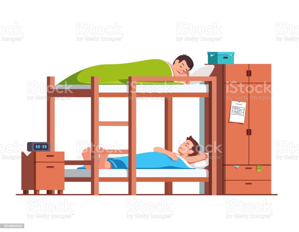 Students Friends Sleeping On Bunk Bed In Dorm Room Stock Illustration Download Image Now Istock