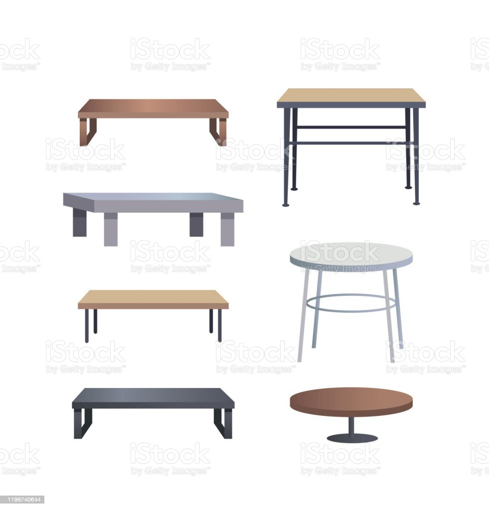 https www istockphoto com vector stylish coffee tables made of wood and metal set gm1199740644 343380603