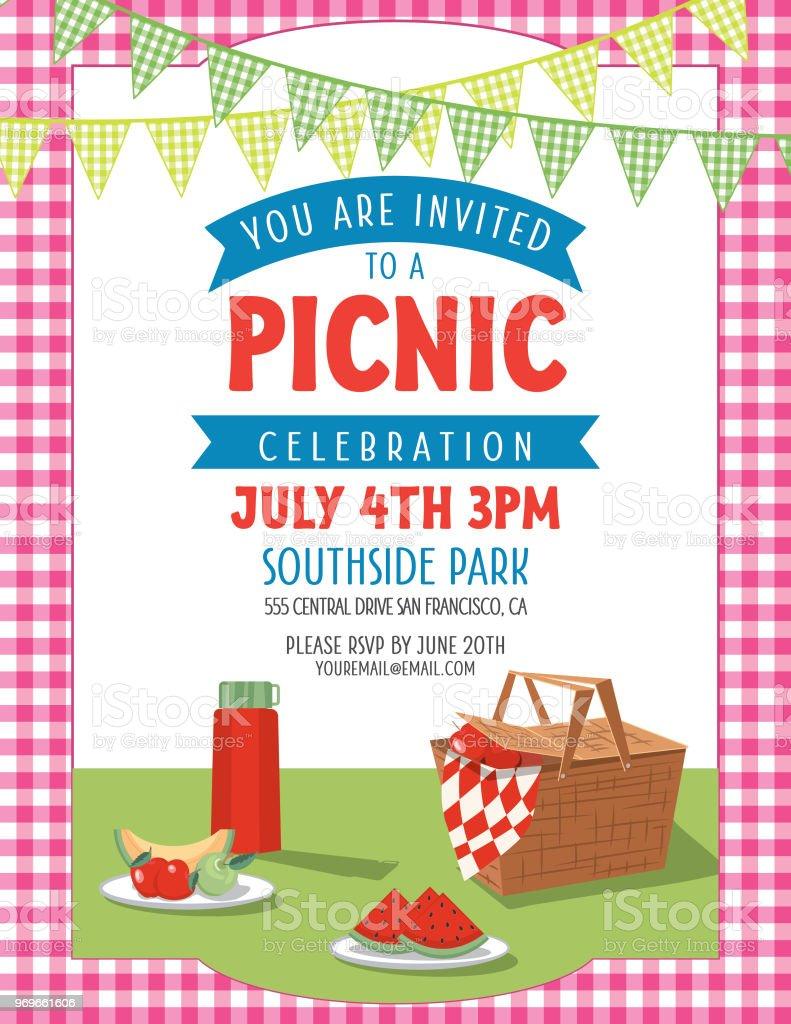 Summer Picnic Invitation Template Stock Illustration