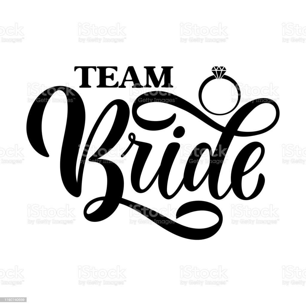 team bride tag on white background and engagement ring bachelorette party bridal shower hen party calligraphy element for invitation card banner or poster graphic design vector lettering stock illustration download image