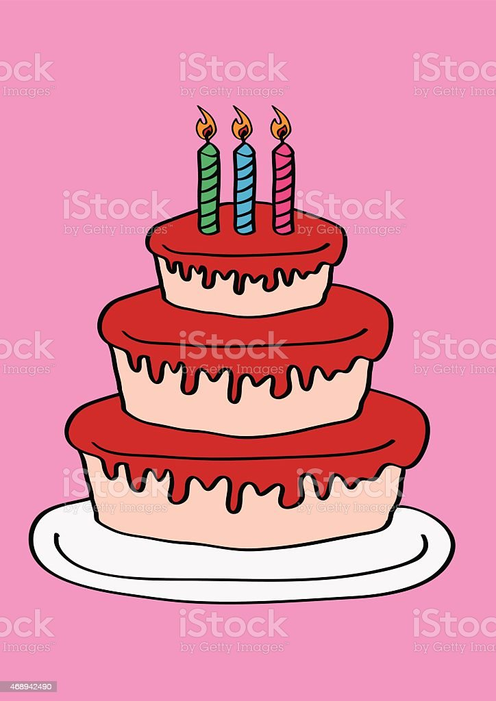 Three Tier Birthday Cake With Three Candles Stock Illustration Download Image Now Istock