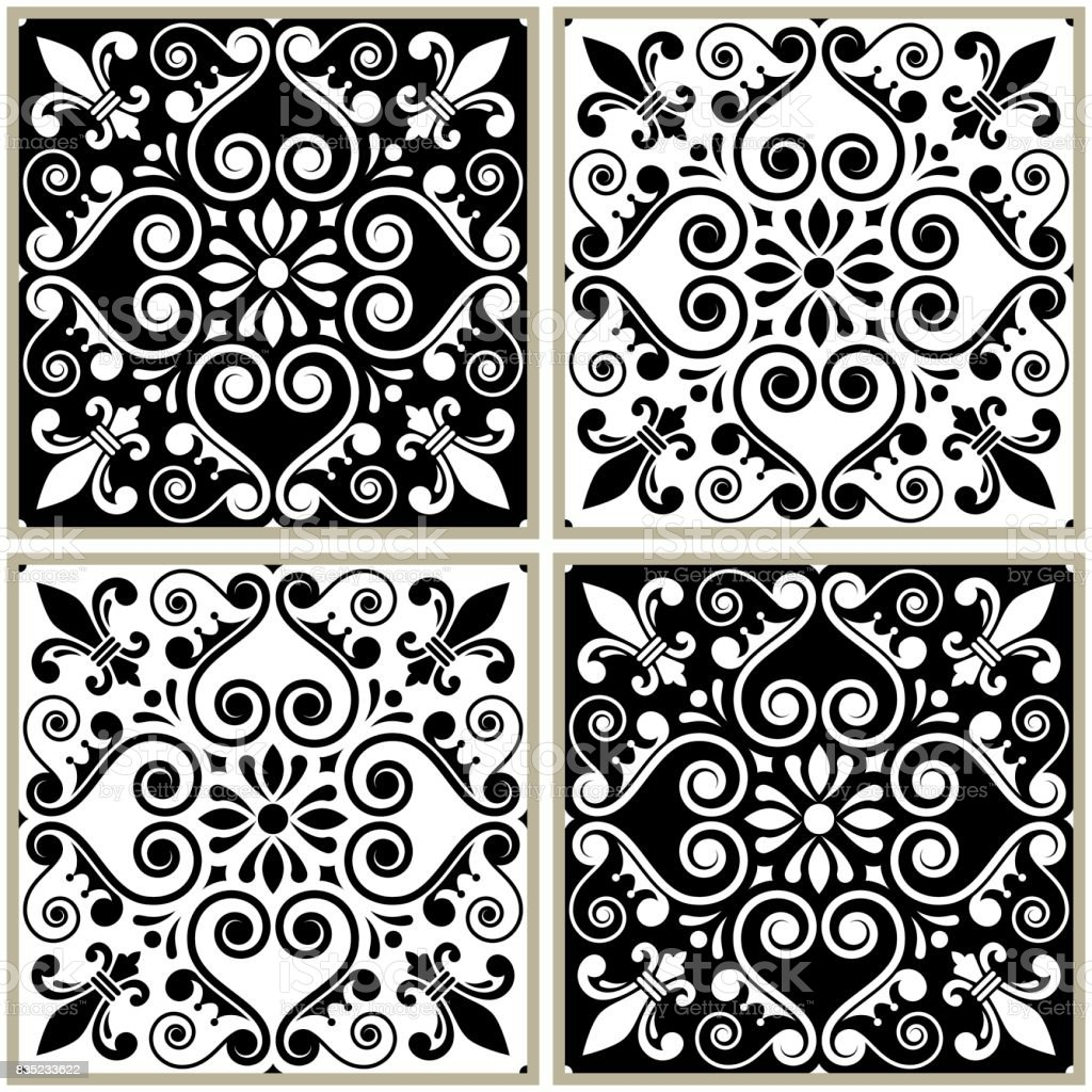 https www istockphoto com vector tiles seamless collection portuguese or spanish vector black and white tile design gm835233622 136149425