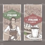 Two Vintage Labels With Barista Ilalian Patio Coffee Cup And Color Tiramisu Stock Illustration Download Image Now Istock