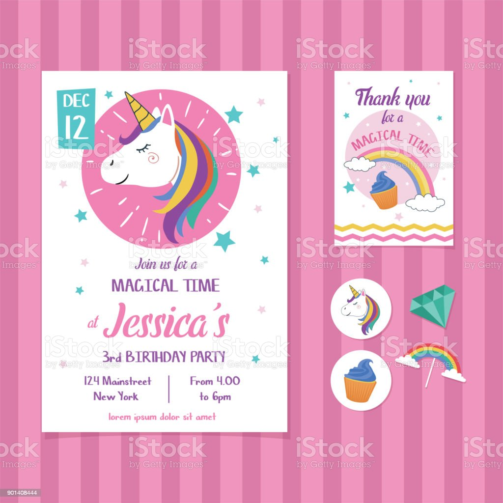 unicorn birthday invitation card template with unicorn head illustration stock illustration download image now istock