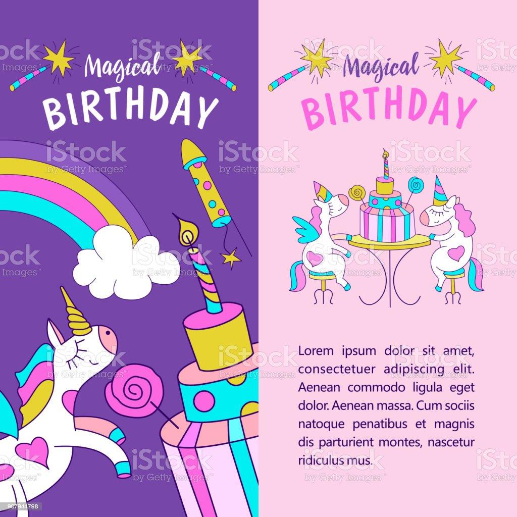 Einhorner Abbildung Von Happy Birthday Stock Vektor Art Und Mehr Bilder Von Baby Istock