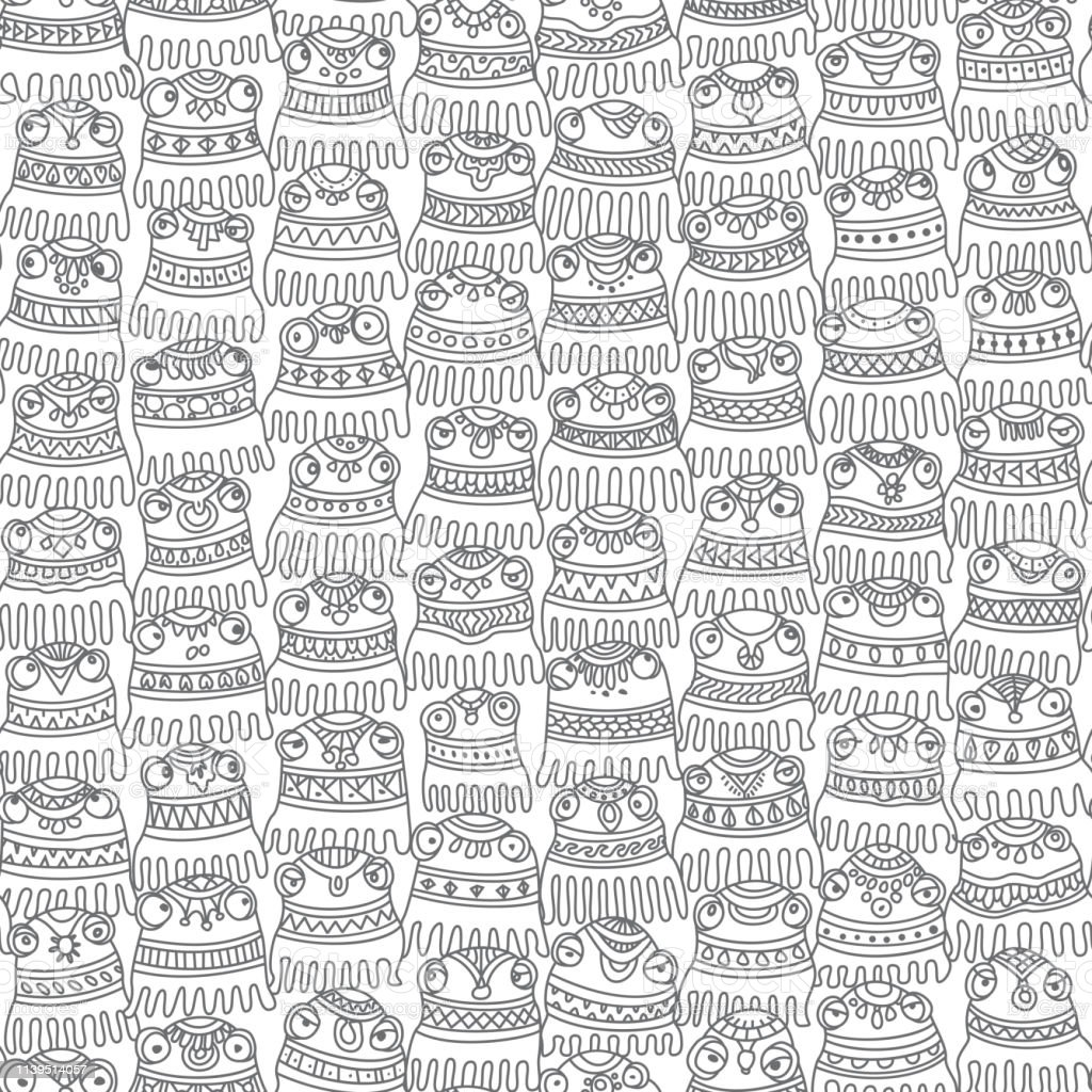vecteur abstrait seamless pattern de petite pieuvre avec des ornements ethniques decoratifs sur un fond blanc rideau de douche impression noir et blanc papier peint papier demballage vecteurs libres de droits et