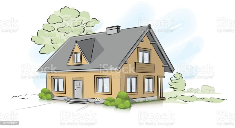 Royalty Free Cartoon Of The Blueprint For House Clip Art  Vector     Vector architectural hand drawing traditional house vector art illustration