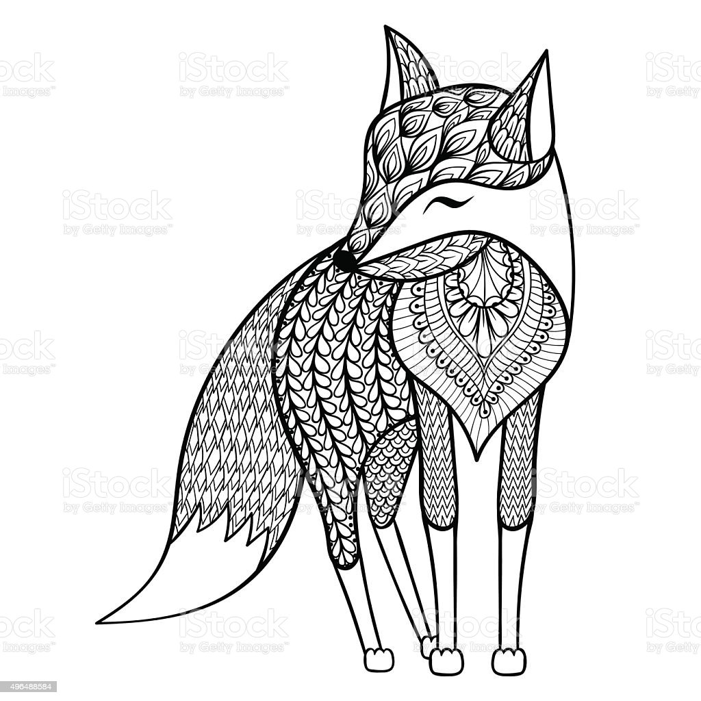 Vector Happy Fox For Adult Anti Stress Coloring Pages