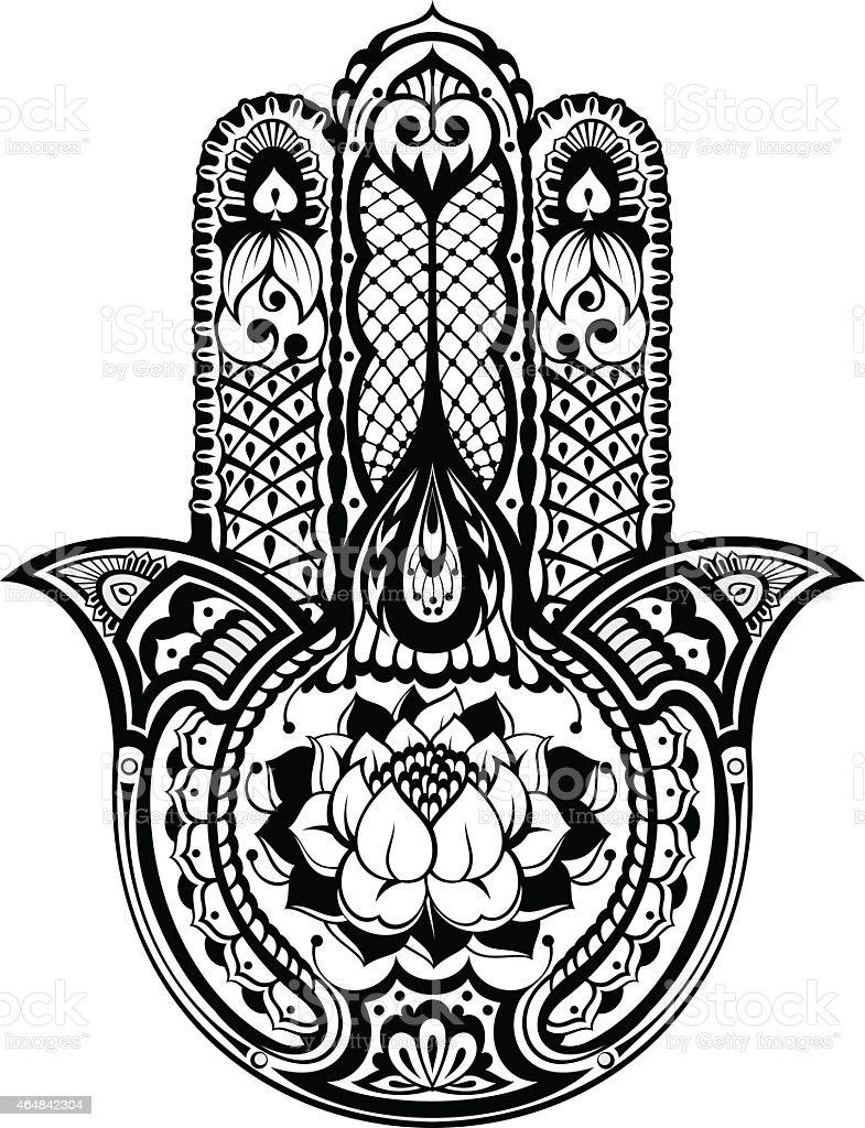 Vector Indian Hand Drawn Hamsa Symbol Stock Vector Art