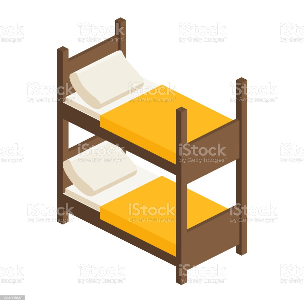 Vector Isometric Bunk Bed For Adults And Children Stock Illustration Download Image Now Istock