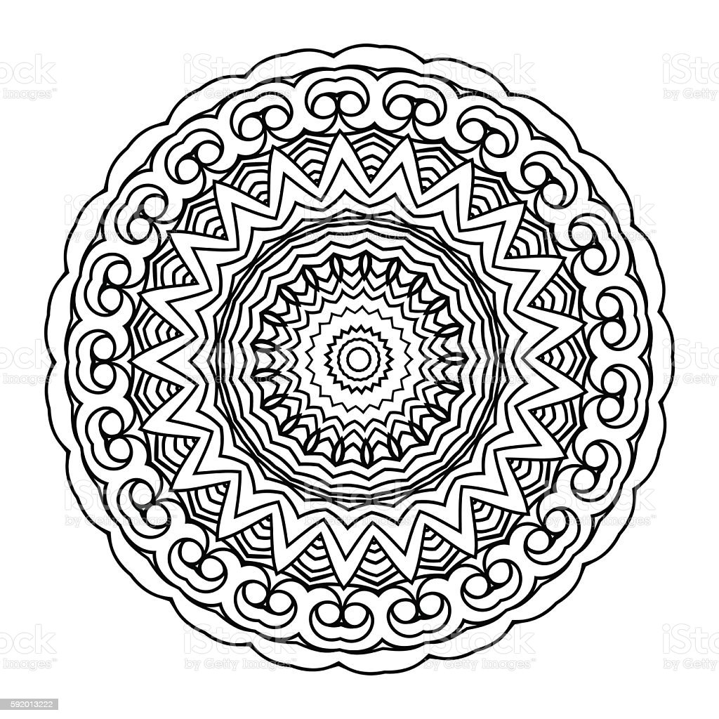 Vector Monochrome Background For Adult Coloring Book Lace