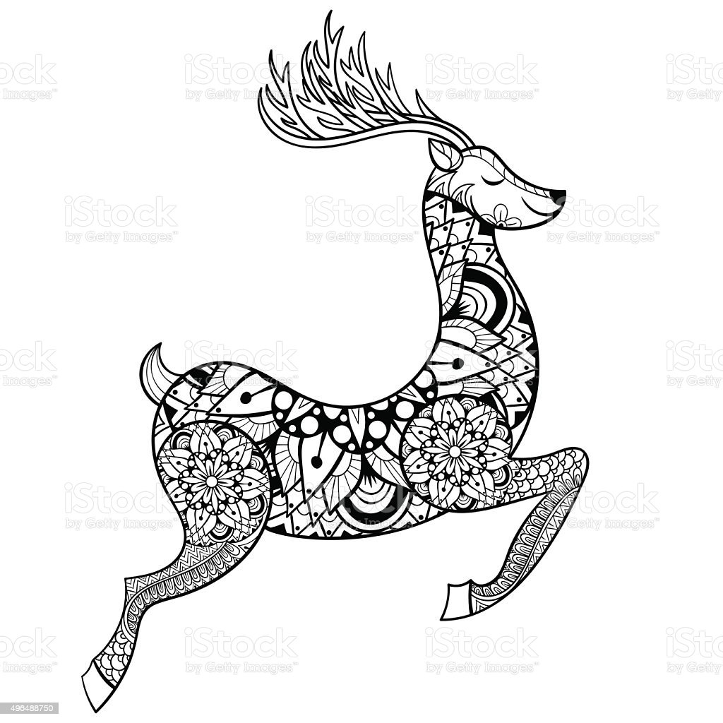 Vector Reindeer For Adult Anti Stress Coloring Pages Stock