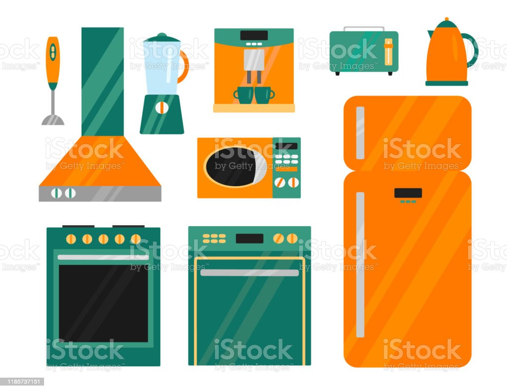 https www istockphoto com vector vector set of kitchen appliances refrigerator stove extractor microwave toaster gm1185737151 334274336