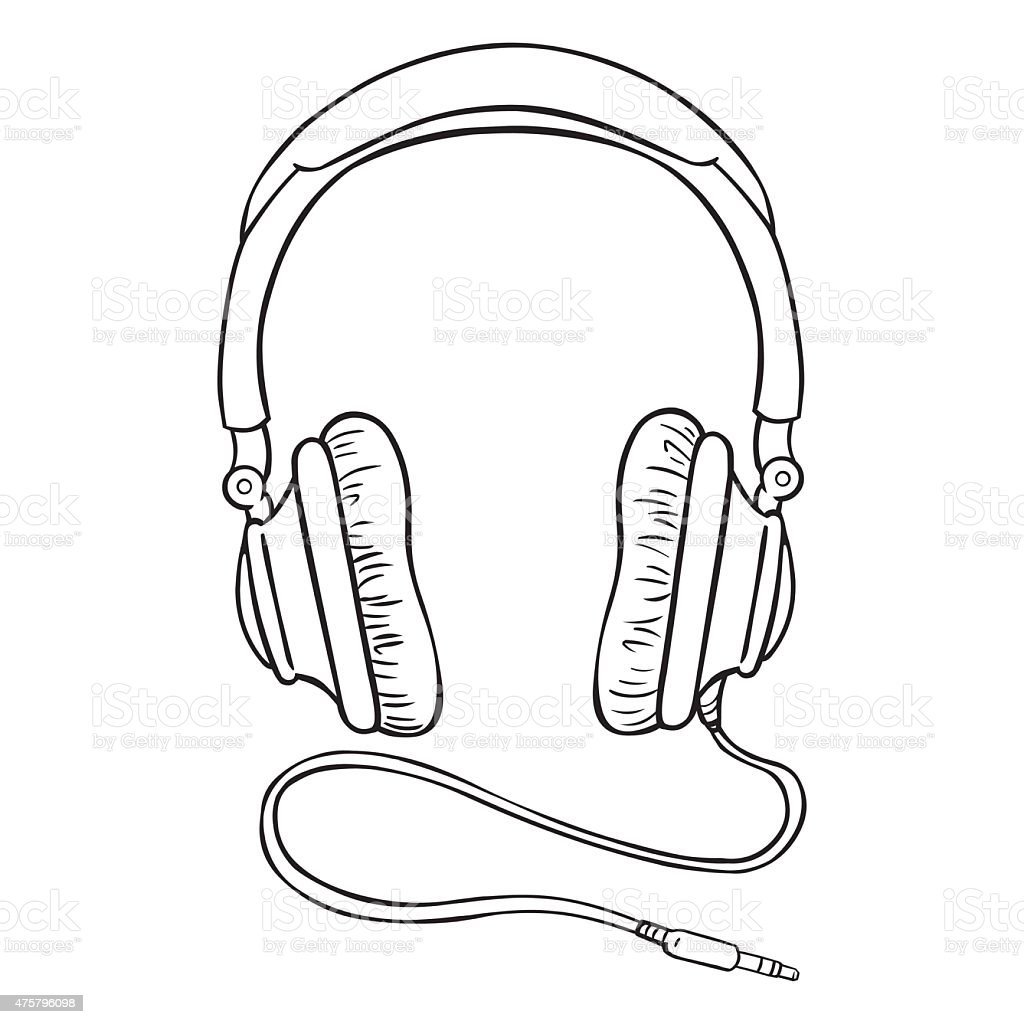 Vector single lineart circumaural headphones with wire stock