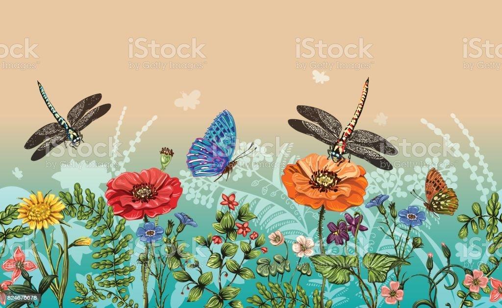 トンボ蝶花草植物のベクトルの垂直方向の境界線夏のスタイル花の背景のシームレスな自然境界線ベクトル カラフルな植物と水平型バナー - イラストレーションのベクターアート素材や畫像を多數ご用意 ...