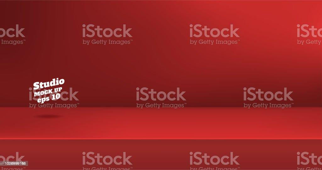 vector fond salle de couleur rouge vif vide studio table presentation du produit avec lespace de copie decran de creation de contenu banniere de publicite produit sur le site web vecteurs libres